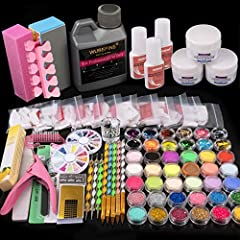 100% Brand new and high quality. Great for any nail artist to make acrylic manicures at home or in studio/salon. 42 in 1 acrylic nail kit. Included 3 basic acrylic powder, 120 ml acrylic liquid, glitter powder, rhinestones and other basic nail art de...