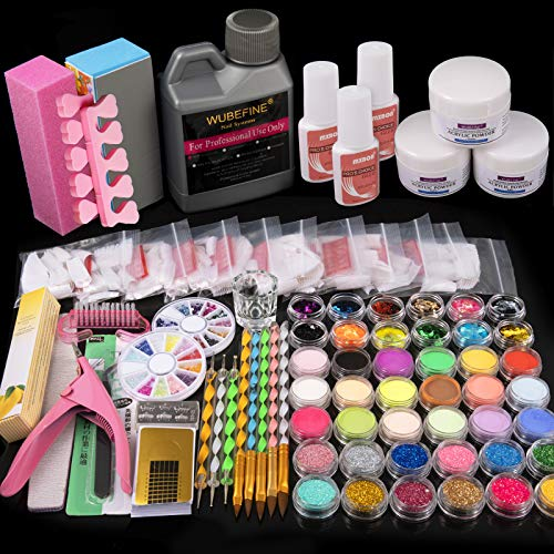 Acrylic Nail Kit, Nail Art Set Acrylic Powder Liquid Brush Glitter File French Tips Nail Art Decoration Tools Professional Manicure Set