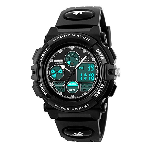 eYotto Kids Jungen Sportuhr Wasserdicht Multifunktions-Analog Digital Armbanduhr LED Alarm Stoppuhr, Jungen, schwarz