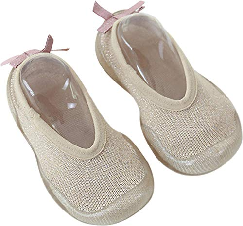 Zapatos Primeros Pasos Antideslizantes de Suela Suave para Bebé, Zapatos para Piso de Niña, Mocasines de Primera Caminata JSQK Beige 22/23