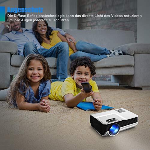 FunLites Video Projektor Full HD, Portable Mini Beamer, Native 1280x720P unterstützt 1080P, HDMI VGA AV USB kompatibel, Schwarzweiß - 6