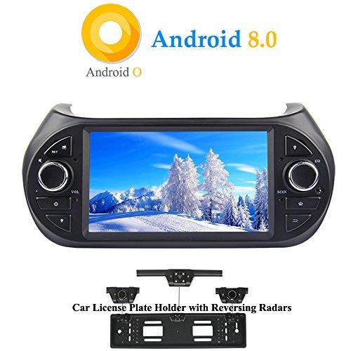 XISEDO Android 8.0 Autoradio In-dash 1 Din Car Radio 7 Pollici Car Stereo 8-Core RAM 4G ROM 32G Navigatore GPS con Schermo di Tocco per Fiat Qubo/Fiat Fiorino/Peugeot Bipper/Citroen Nemo 2008-2016