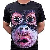 3D Druck Affengesicht T-Shirts Sommer Tops Tees Kurzarm Polyester Unisex Pärchen S-4XL