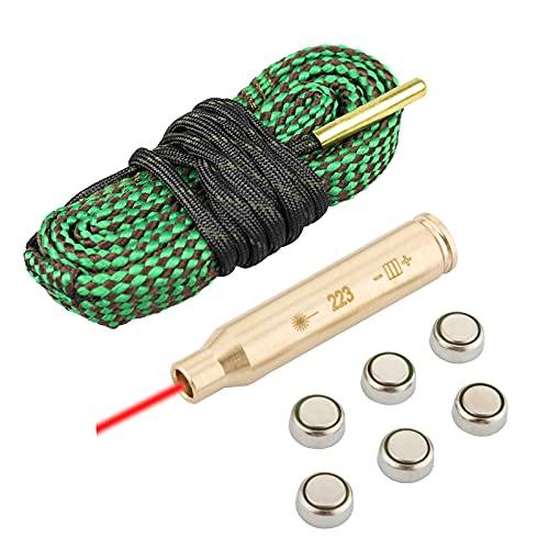 223 5.56 Gun Snake Bore Cleaner + Bore Sight, Rifle Shotgun...