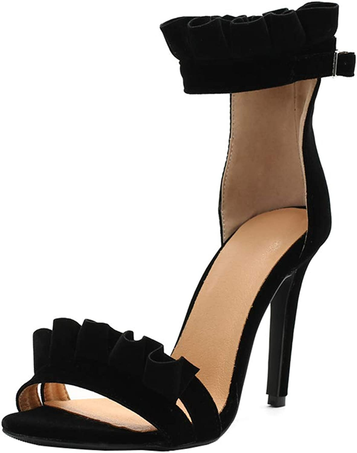 XDLEX Women Suede Lacework Strappy Heeled Sandals Stiletto Ankle Buckle Strap One Strap Lace Ruffles Pumps Open Toe Wrap-Around Strap Cutout Backless shoes