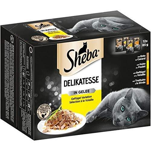Sheba Delikatesse in Gelee – Hochwertiges Katzen Nassfutter mit feiner Geflügelauswahl – Im praktischen Portionsbeutel – 48 x 85g Alleinfuttermittel