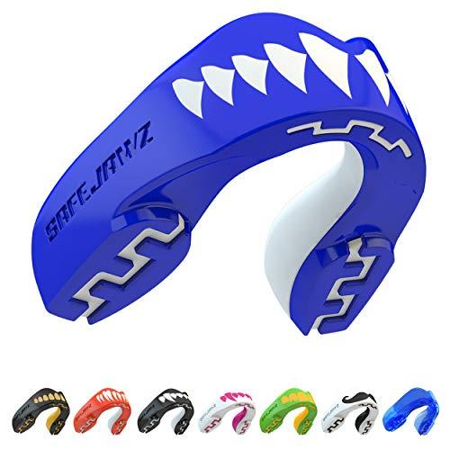 SAFEJAWZ Protector bucal Adultos y niños para Todos los Deportes de Contacto, incluidos Rugby, MMA, Artes Marciales de Kickboxing, Judo, Hockey y Boxeo (Tiburón, Adulto (12+ Años))