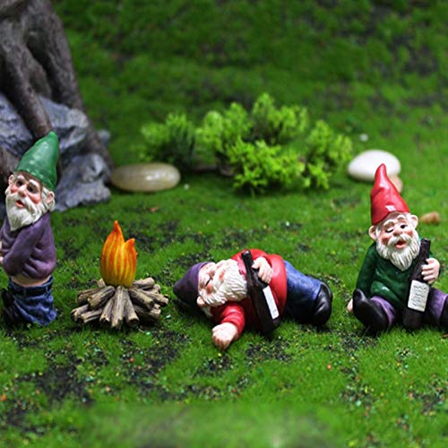 4 piezas miniatura de Gnomos borrachos decoración de jardín, accesorios de jardín de hadas figuras coleccionables miniatura gnomos de jardinería, mini kit de gnomos borrachos de resina