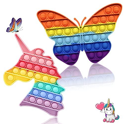 Pop It Push Bubble Anti-Stress Fidget Toy Pack de 2 Stress Reliever Autism Special Needs Rainbow Sensory Fidget Toys pour enfants et adultes (Licorne arc-en-ciel et papillon)
