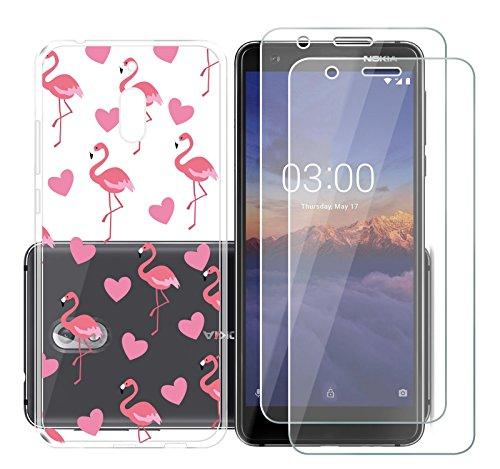 AQGG Custodia per Nokia3.1/Nokia32018 Trasparente TPU+ (2 Set Vetro temperato) Protection Cover Coperchio Morbido Silicone Cassa Case Skin per Nokia3.1/Nokia32018 - Cuore Rosa Fenicottero