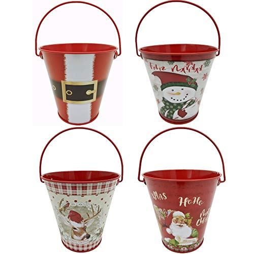 YEEPON christmas red decorations metal buckets,mini candy bucket,4 Pieces 4.4'W x 4.4'H