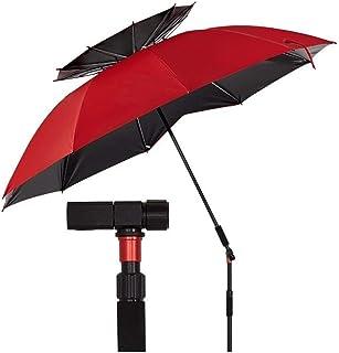 Sunshade Canopies Two Layers of Walking Stick Fishing Umbrella Outdoor Ultra Light Camping Carbon Fiber Rainproof Sun Folding Platform (Color : 1 Layer 2.0m red)