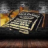 72Tdfc Decoración De Pared Cartel para Sala De Estar Moderno HD Impreso 5 Paneles Pared Arte Hogar Decoración Lienzo Pintura Jack Daniels Whisky Bourbon