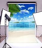 YongFoto 1x1,5m Vinilo Fondo de Fotografia Arena Playa Blue Sea Sky Vocación de Verano Artística Telón de Fondo Fiesta Niños Boby Retrato Personal Estudio Fotográfico Accesorios