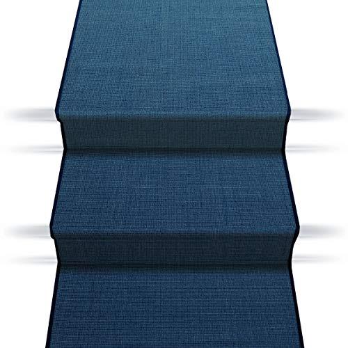 casa pura Sisal Treppenteppich Treppenläufer | viele Größen | natürlicher Läufer für den durchlaufenden Treppenbelag | Qualitätsprodukt aus Deutschland (blau 67x500 cm)