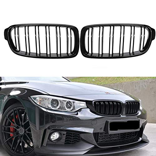 Fit 2012-2018 BMW 3 Series F30 F31 F35 Grille High Gloss BLACK Cool Bussiness Style Replacement Conversion Grill Sturdy ABS Easy To Install (Gloss Black)