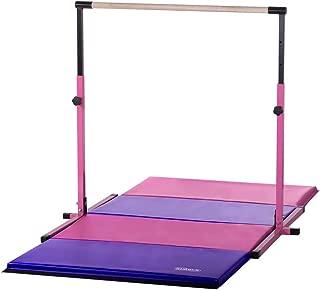 Nimble Sports Pink Adjustable Gymnastics Bar and 4 Feet X 8 Feet Pink and Purple Gymnastics Mat