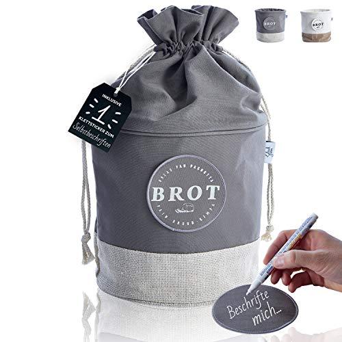 Glückstoff® Aufbewahrungsbox aus Stoff [Nachhaltig] Brot-Korb | Brotbeutel Küchen-Deko Bad Vorratsbehälter | Vintage Retro Leinen-Beutel | Lagerung Lebensmittel Gemüse Obst Tee Kaffee (Grau)