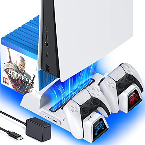PS5 Stand with Cooling Fan and Dual PS5 Controller Charger Station, with Fast AC Adapter 5V/3A, OIVO Suction PS5 Fan Cooling Fan Stand, PS5 Cooler Fan Docking Station for Playstation 5 Disc & Digital