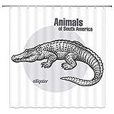 qianliansheji Krokodil Duschvorhang Südamerikanisches Tier Duschvorhang Schwarz Weiß Krokodil Duschvorhang Weißer Hintergr& Doppelseitig Wasserdicht 178 × 178 cm (Multi 1273)
