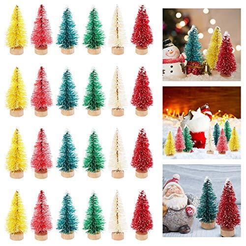 Mini Árbol de Navidad (24 Piezas) Arbolitos de Navidad 5 cm 6 Colores Nieve (4 de Cada Uno) - Arboles Cepillo Botella con Base de Madera de Pino Miniaturas Navidad Decorar Fiesta Navidad Manualidades