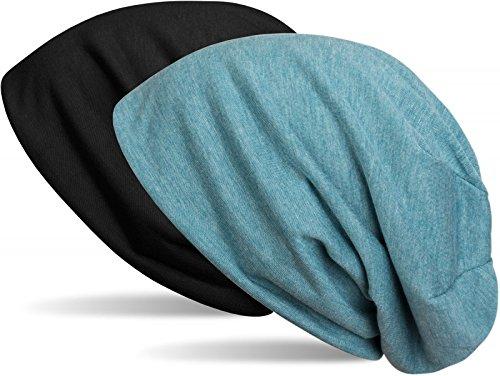 styleBREAKER Beanie Wendemütze in Unifarben, Slouch Mütze, leicht und weich, Longbeanie, Unisex 04024115, Farbe:Schwarz/Blau meliert