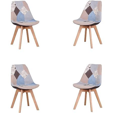 Lot de 4 chaises de salle à manger ergonomiques simples en coton et lin Patchwork bois massif pour cuisine, salon, bureau (gris, 4)