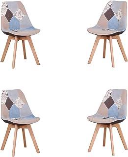 Lot de 4 chaises de salle à manger ergonomiques simples en coton et lin Patchwork bois massif pour cuisine, salon, bureau...