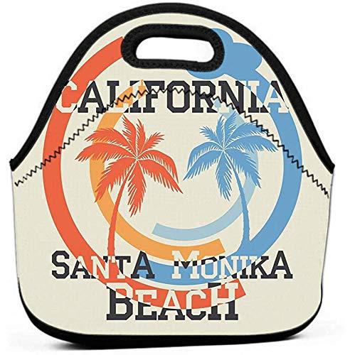 Borsa da pranzo isolata, Borsa da pranzo riutilizzabile a prova di perdite, Cooler ecologico santa monika california beach tipografia sport emblema abbigliamento vintage stampa design