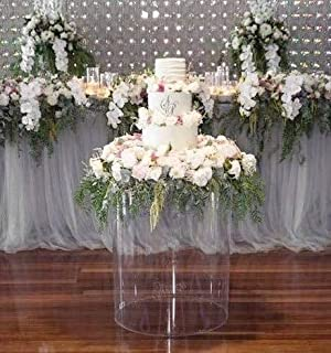 LUGUNU Acrylic Hexagon Display Cylinder Pedestal Art Decor Stand Round Pillar Plinth for Party & Holiday Wedding DIY Decorations (Round D40CM×80CM, Clear)