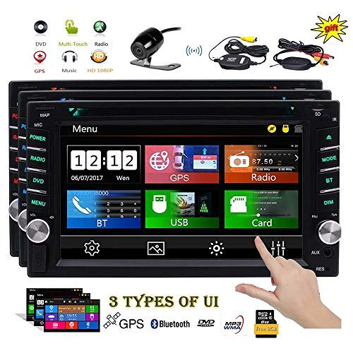 EINCAR Double 2 Din Car Stereo GPS Navigation Capaicitve Touchscreen Car Radio in Dash Bluetooth Head Unit 6.2 inch Car DVD CD Player MP3 USB SD 8GB Map Card+ 3 UIs Remote Wireless Reverse Camera
