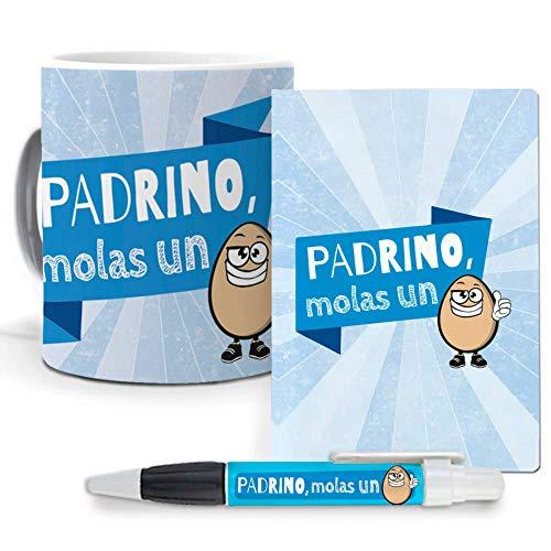 Pack Original y Personalizado Padrinos Padrino molas un Huevo. Libreta, boligrafo y Taza Maxima Calidad.
