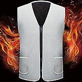 Chaleco de calefacción eléctrico, Fibra de carbono Ropa inteligente de ajuste de temperatura, USB recargable ligero chaqueta cálida, para deportes al aire libre de hombres y mujeres White-3XL