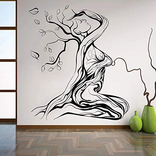 Papel pintado hermoso abstracto pegatina chica árbol vinilo pared calcomanía decoración mujeres dormitorio grabado Retro patrón Art Deco