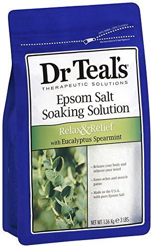 Dr. Teal's Epsom Salt Soaking Solution, Eucalyptus Spearmint, 48 Ounce (Pack of 4)