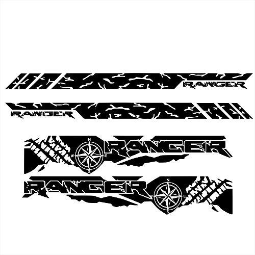 HYSJLS Puerta de Coche Stripe Stripe Gráfico Etiqueta engomada de Vinilo para Ranger Tronco Neumático Gráfico Decoración de automóviles Accesorios Calcomanías Body Stripe Lateral