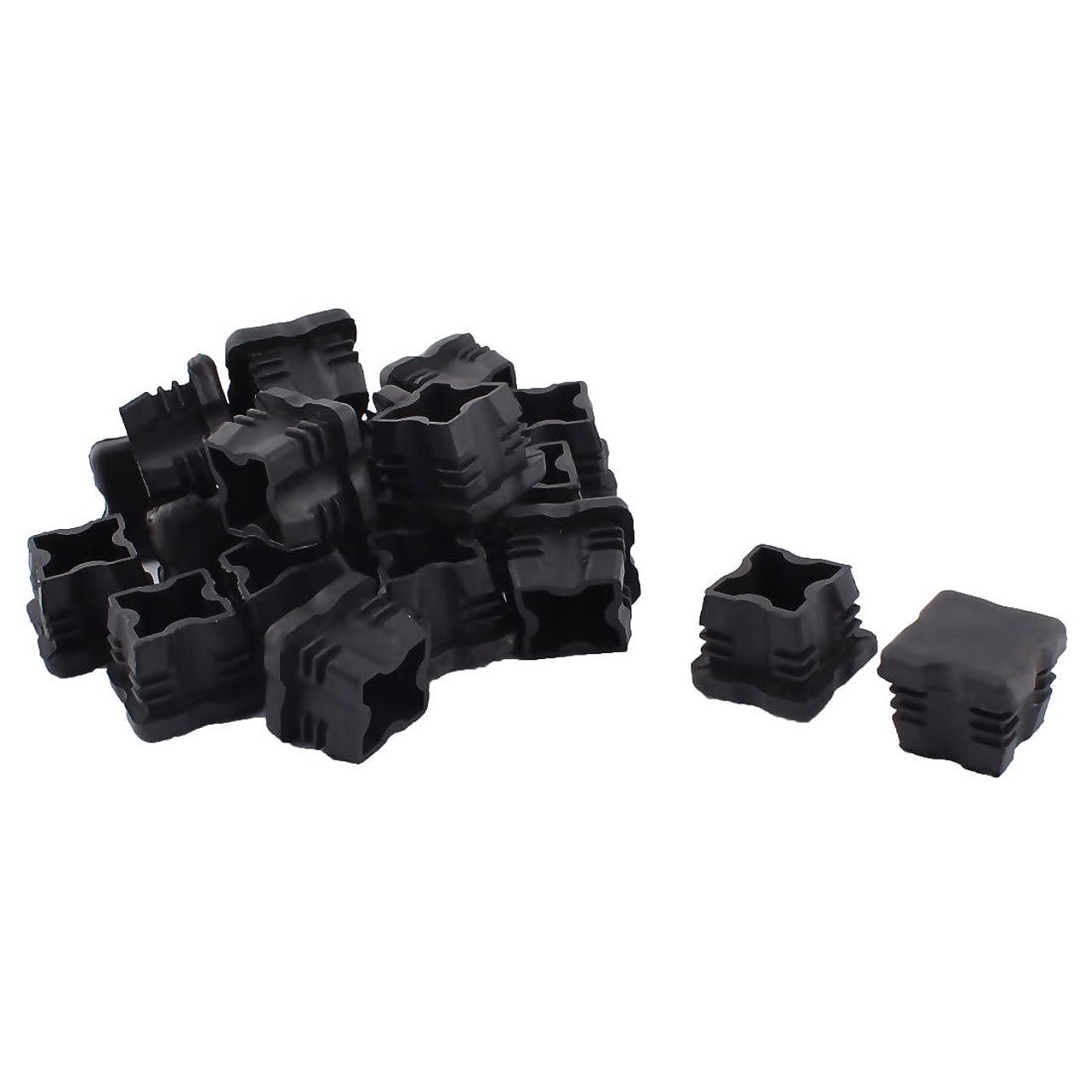 大学院名声胃uxcell 家具パイプキャップ プラスチック プロテクターチューブ 四角形ブラック 25mm x 25mm 20個入り
