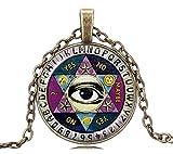 Gemingo All New Pentagram Ouija Board Glass Dome Ouija Board Necklace Ouija Board Jewelry for Women (Golden)