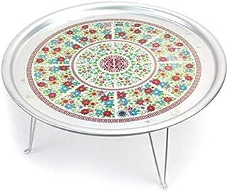 Traditional Korean Pattern Portable Floor Desk, Aluminum Folding Table, 16.7inch
