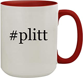 #plitt - 15oz Hashtag Colored Inner & Handle Ceramic Coffee Mug, Red