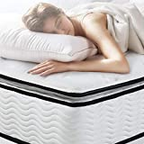 EASELAND King Mattress - Bamboo Pillow Top Hybrid Mattress, 10 inch Innerspring and Gel Memory Foam Mattress in a Box - Individually Encased Pocket Coils for Supportive & Pressure Relief