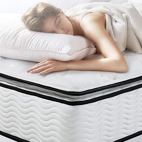 EASELAND Queen Mattress - Bamboo Pillow Top Hybrid Mattress