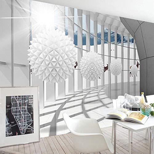 Behang Behang Moderne mode 3D Fotobehang Geometrische ruimte Ronde bal Woonkamer TV Achtergrondbehang-350 * 256cm