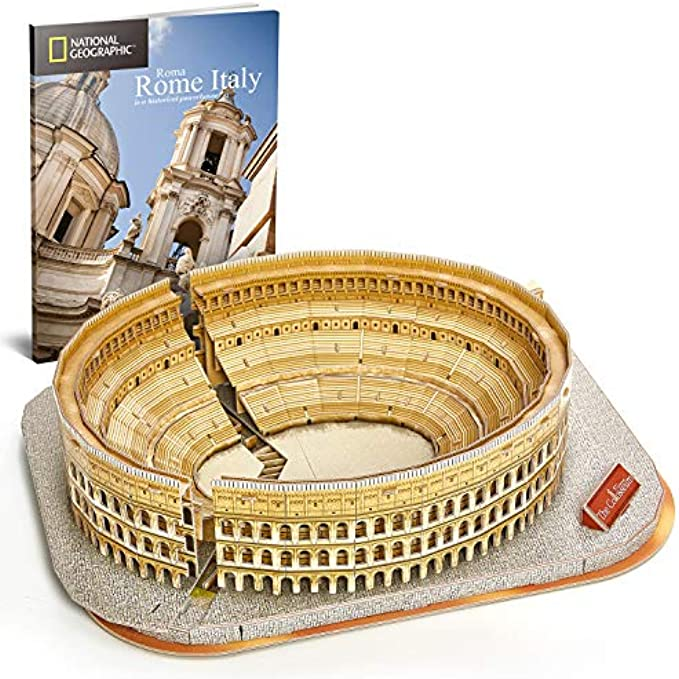 CubicFun National Geographic 3D Puzzle for Adults Kids Rome Colosseum Jigsaw Italy 131 Pieces