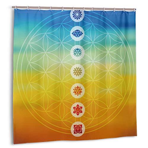 cortina de la ducha, diseño de flor de la vida de geometría sagrada con siete iconos principales de chakra sobre fondo de degradado borroso colorido Cortinas de baño de tela con ganchos 72x72in