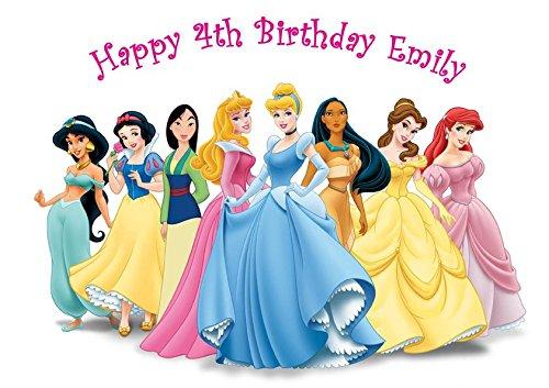 Disney Princesse Décoration pour gâteau personnalisée Glaçage Sucre Papier A4 image E