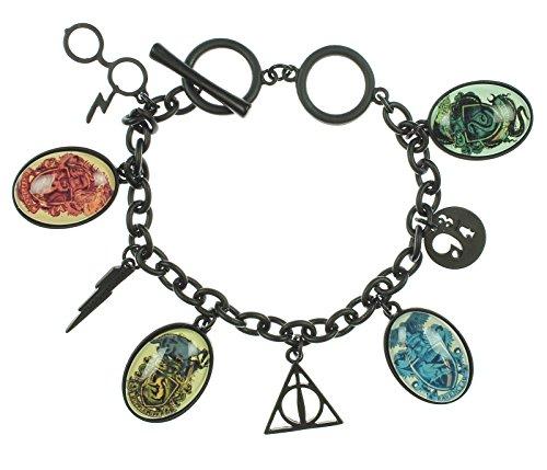 Offizieller Harry Potter Hogwarts-Haus Kämme Heiligtümer des Todes schwarz Bettelarmband