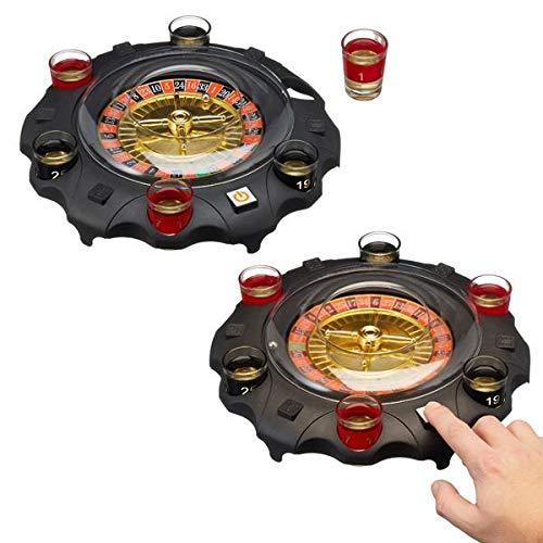 Topshop24you witziges elektrisches Trinkspiel Roulette inkl. 6 Gläsern & 2 Kugelnn ,Durchmesser ca. 27 cm
