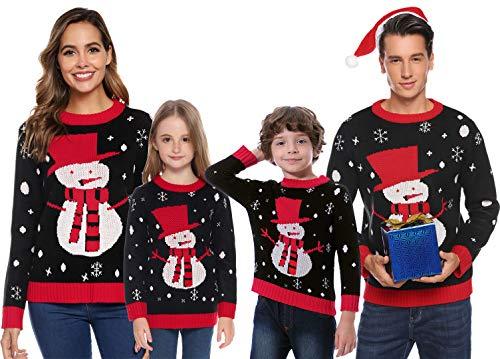 Abollria Suéter de Navidad,Jersey Navideño Sudaderas Navideñas Familiares Niño Niña Sueter Hombre Mujer Sweaters Estampadas Pullover Cuello Redondo Largas Invierno