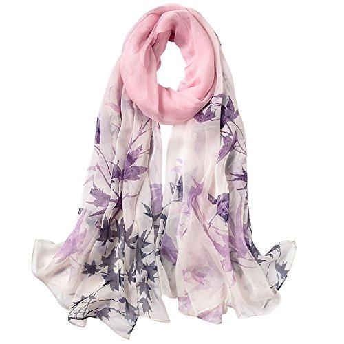 STORY OF SHANGHAI Femme Foulard 100% Soie Imprime Floral Coloré Grande Echarpe Châle Ultra-Léger Respirant Elégant 175 * 55CM